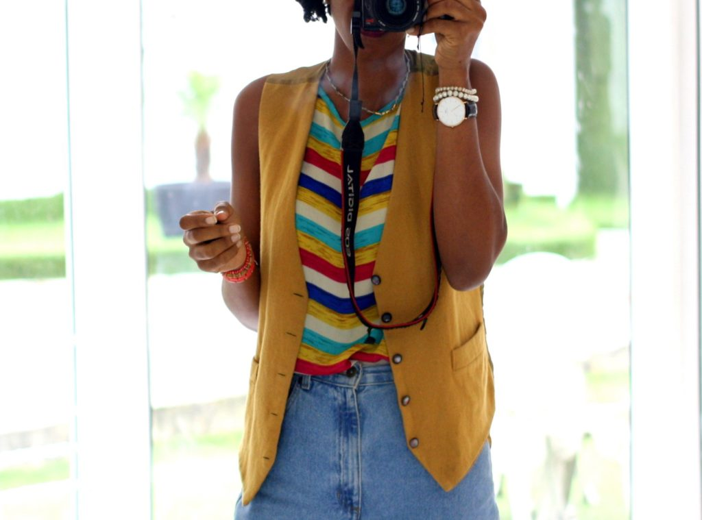 styling a mustard female  vest