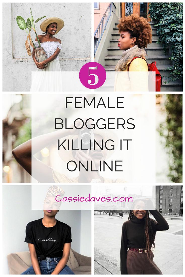 international Women's day, Collage Pinterest image of 5 Female Bloggers Shope Delano, Asiyami Gold, Paola Matthe, Yagazie Emezi, Latonya Yvette