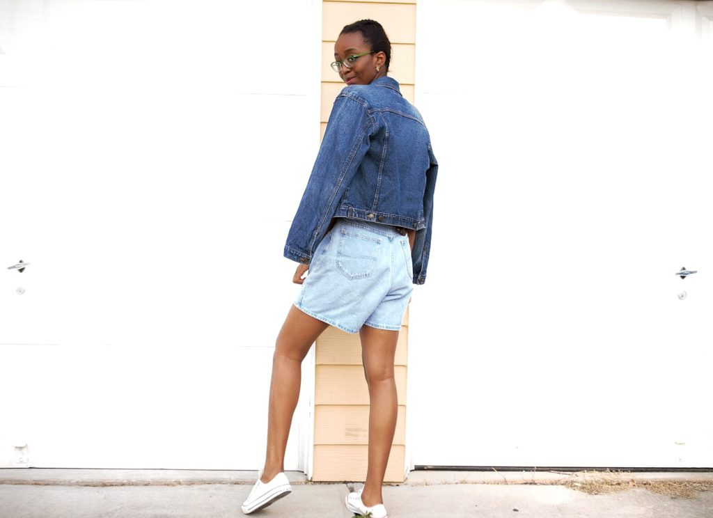 Styling high waisted denim mom shorts, Nigerian fashion blogger Cassie Daves wearing high waisted denim mom shorts and denim jacket
