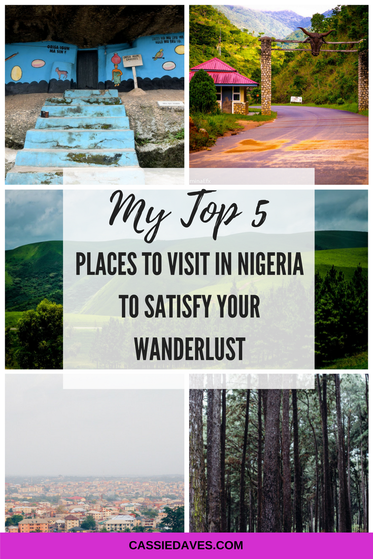 pinterest image of top 5 places to visit in Nigeria