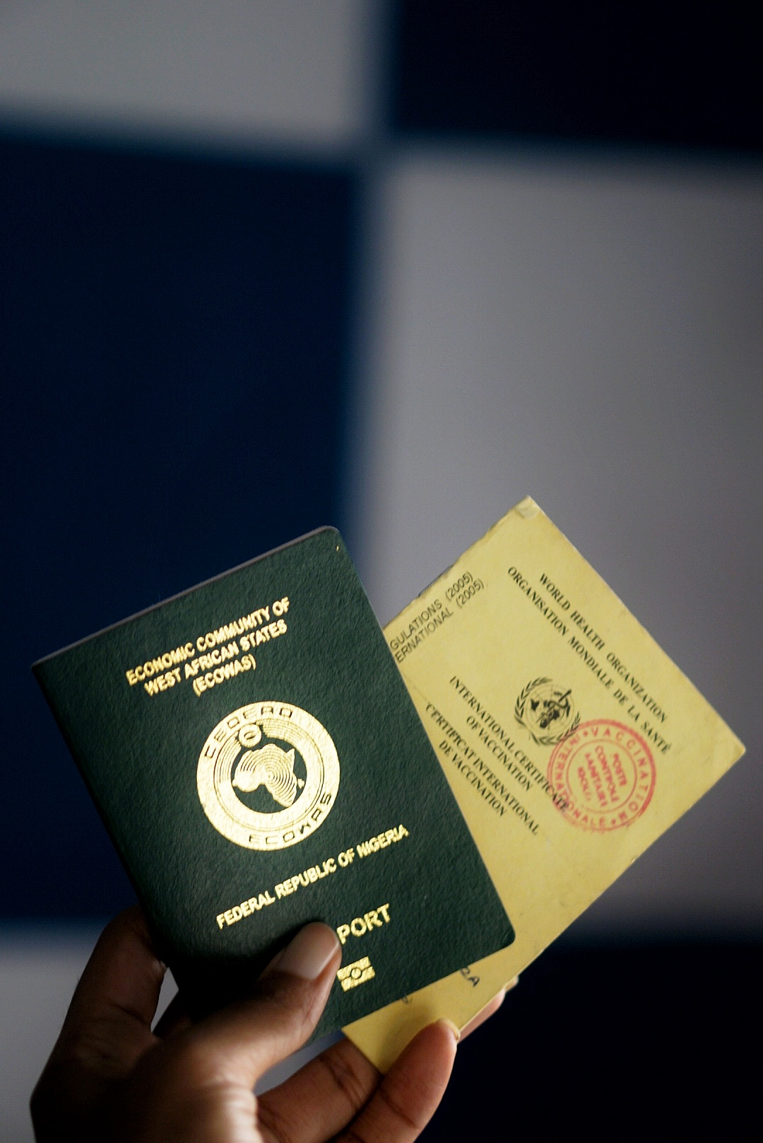 Nigeria Passport and Yellow Card For road trip to ghana