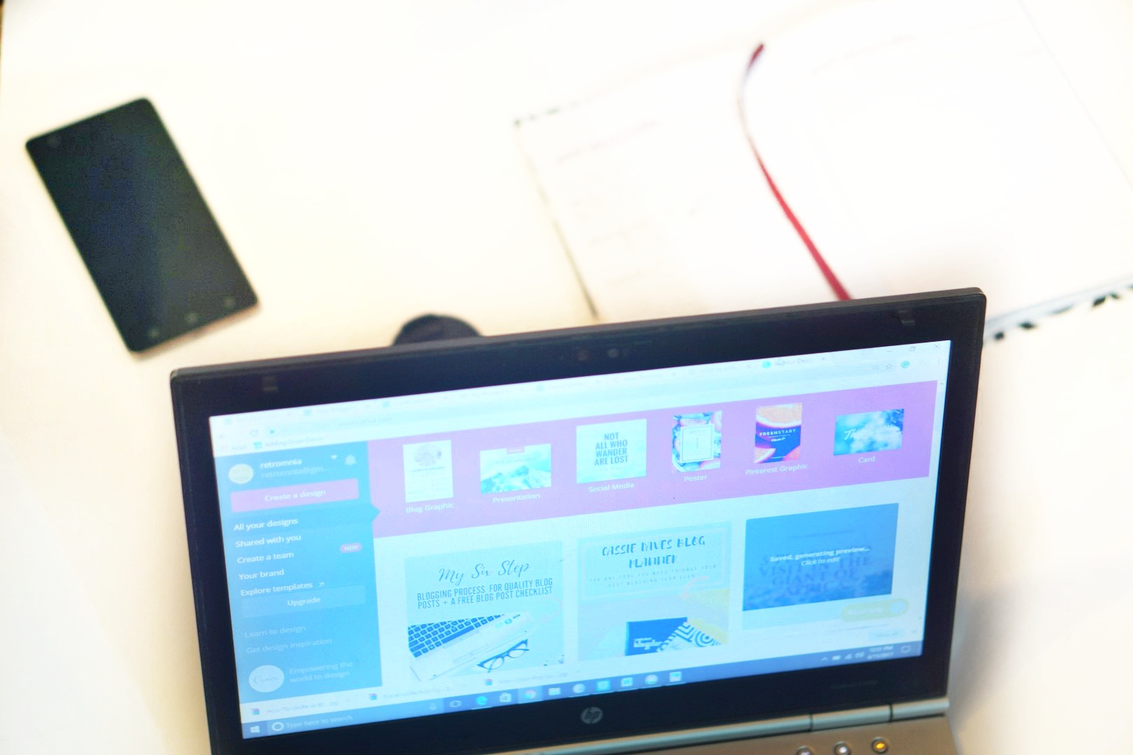 laptop screen showing canva