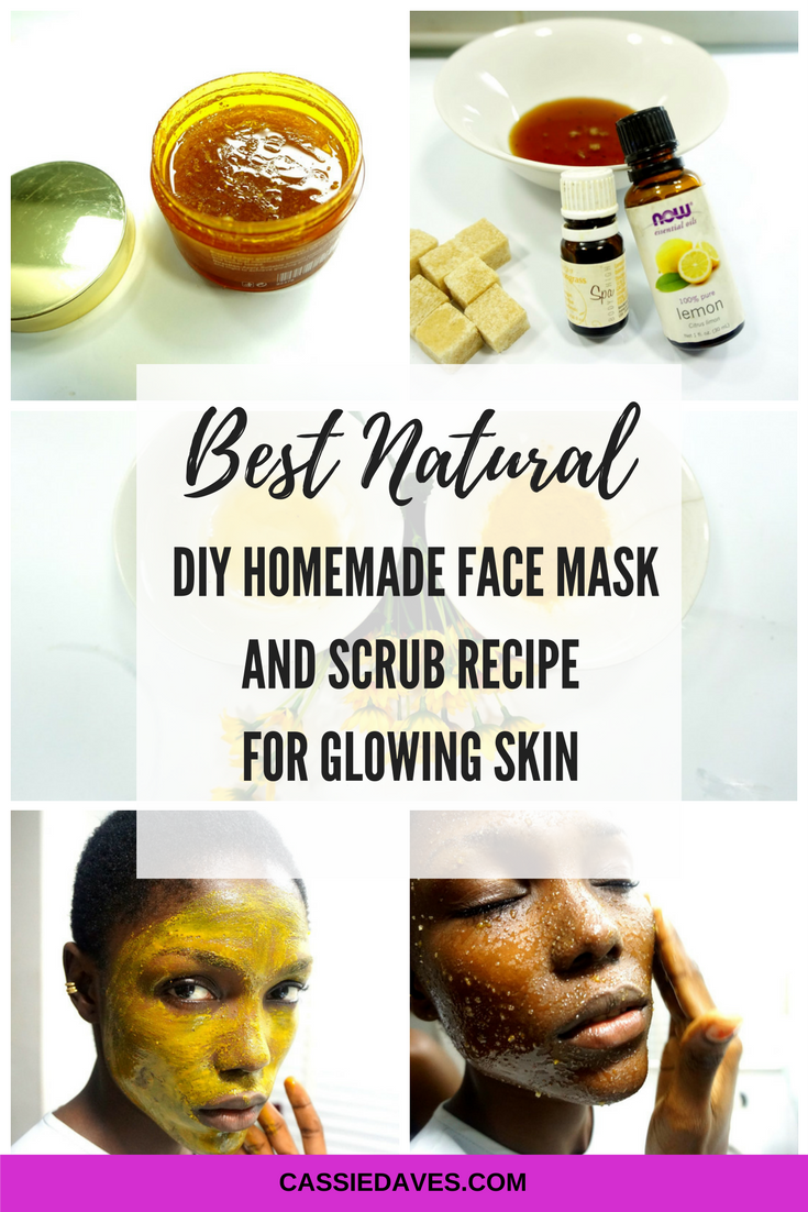 Homemade face mask and scrub recipe collage graphics for Cassie Daves blog post