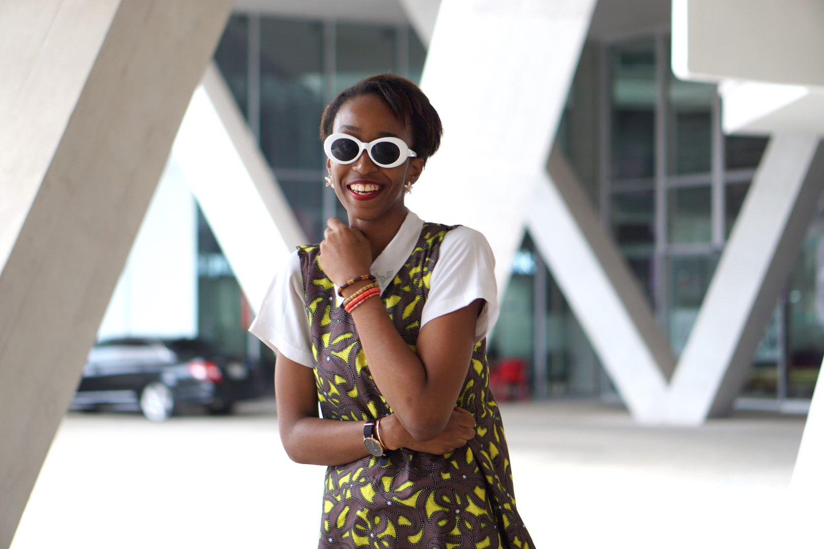 sleeveless Ankara shirt dress layered with white shirt inside