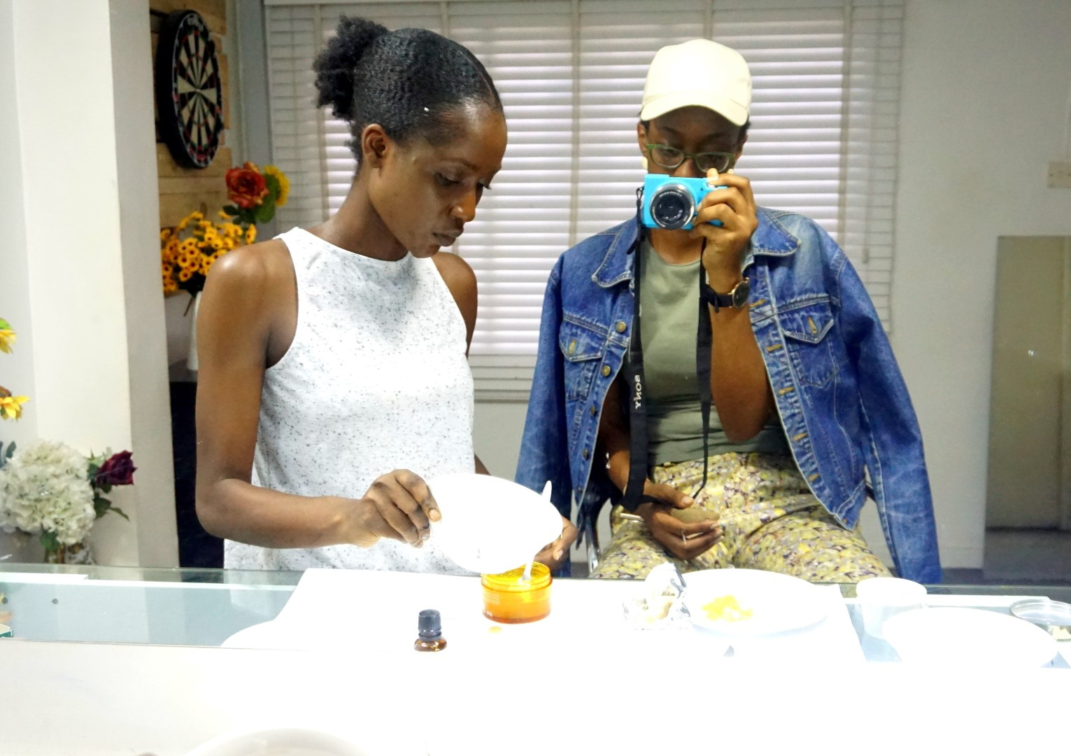 Makeup artist and beauty blogger Laila Came with fashion blogger Cassie Daves making homemade face mask and scrub