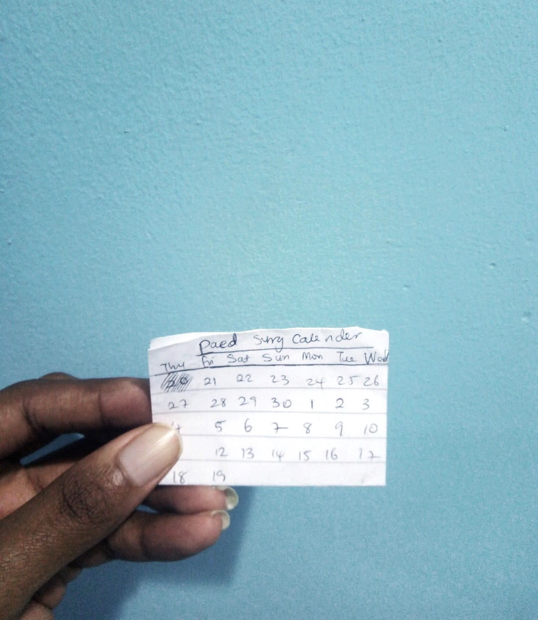 housemanship in Nigeria, hand drawn calender of the month of April