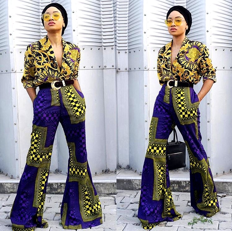 Nigerian fashionista jennifer oseh, theladyvhodka in an ankara mixed prints and turban outfit