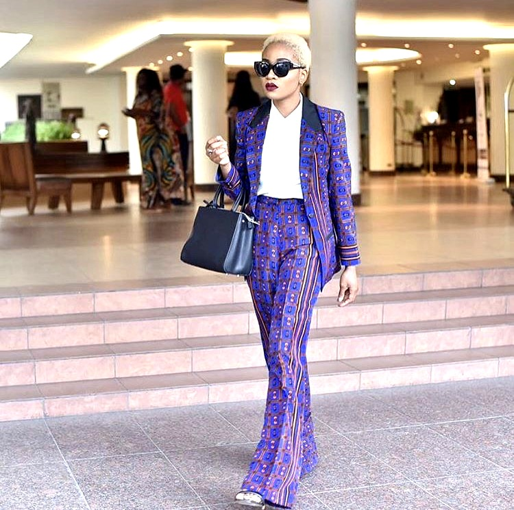Nigerian style influencer Jennifer Oseh in Ankara suit and pants