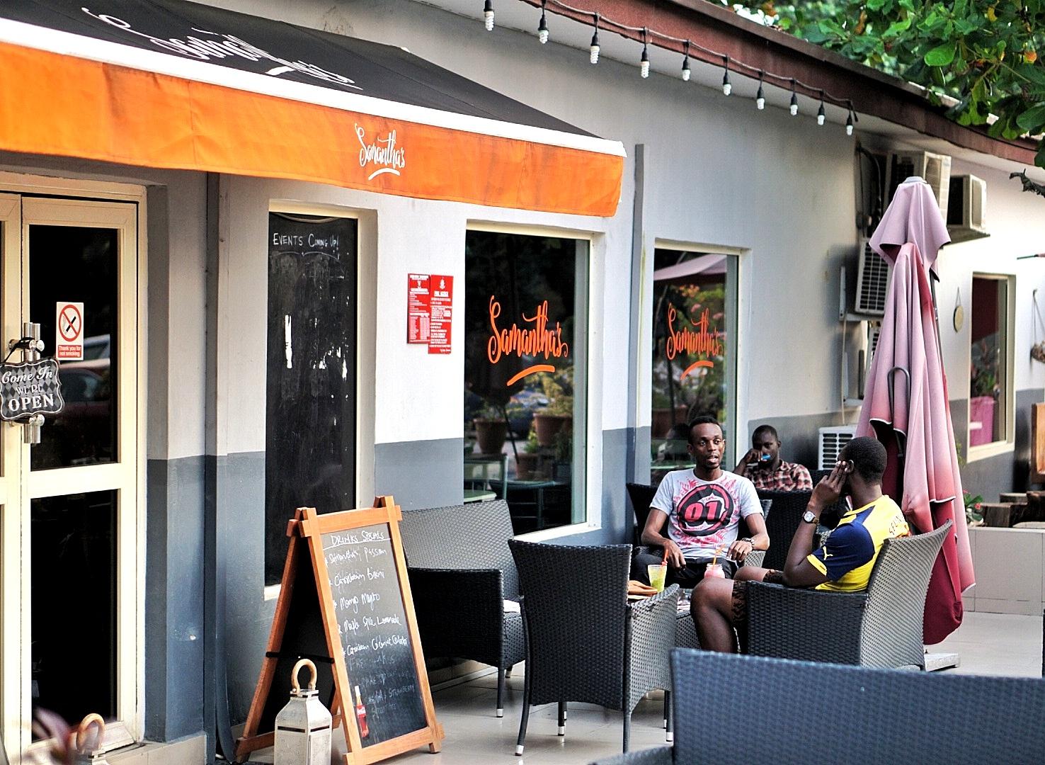 Outdoor sitting area at Samantha's Bistro in Ikoyi, Lagos.