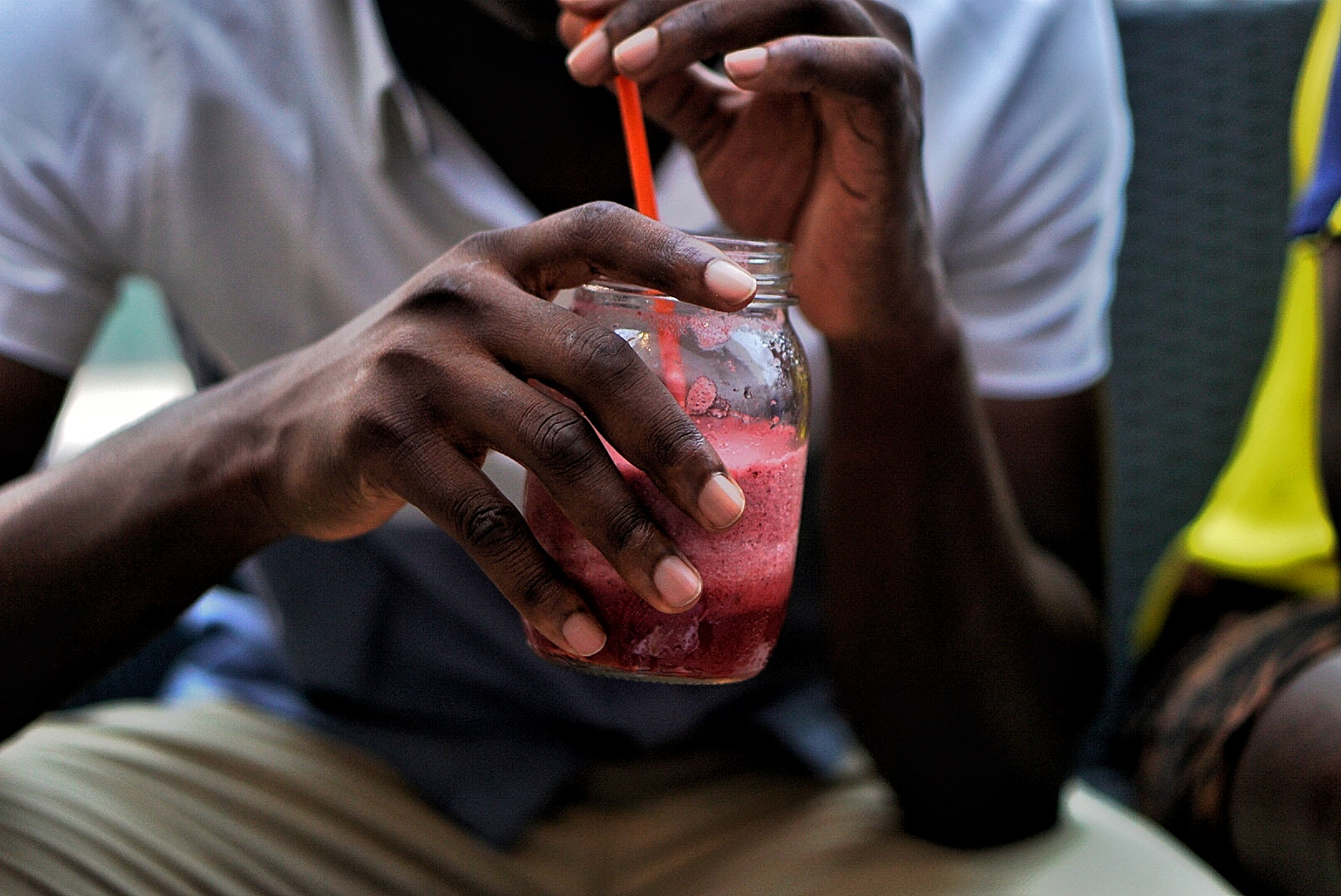 Maison Jar of watermelon smoothie at Samantha's Bistro