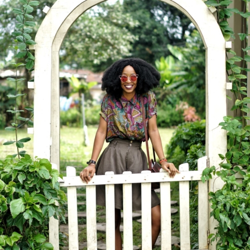 Nigerian blogger Cassie Daves at Jaekel house Lagos garden