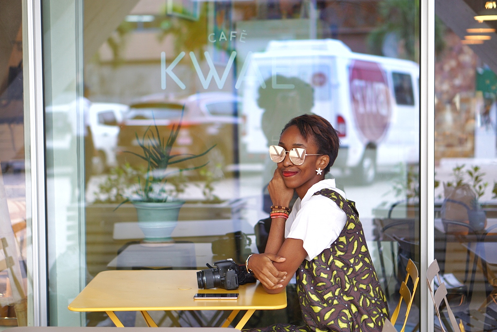 Cassie Daves at cafe kwae in Accra