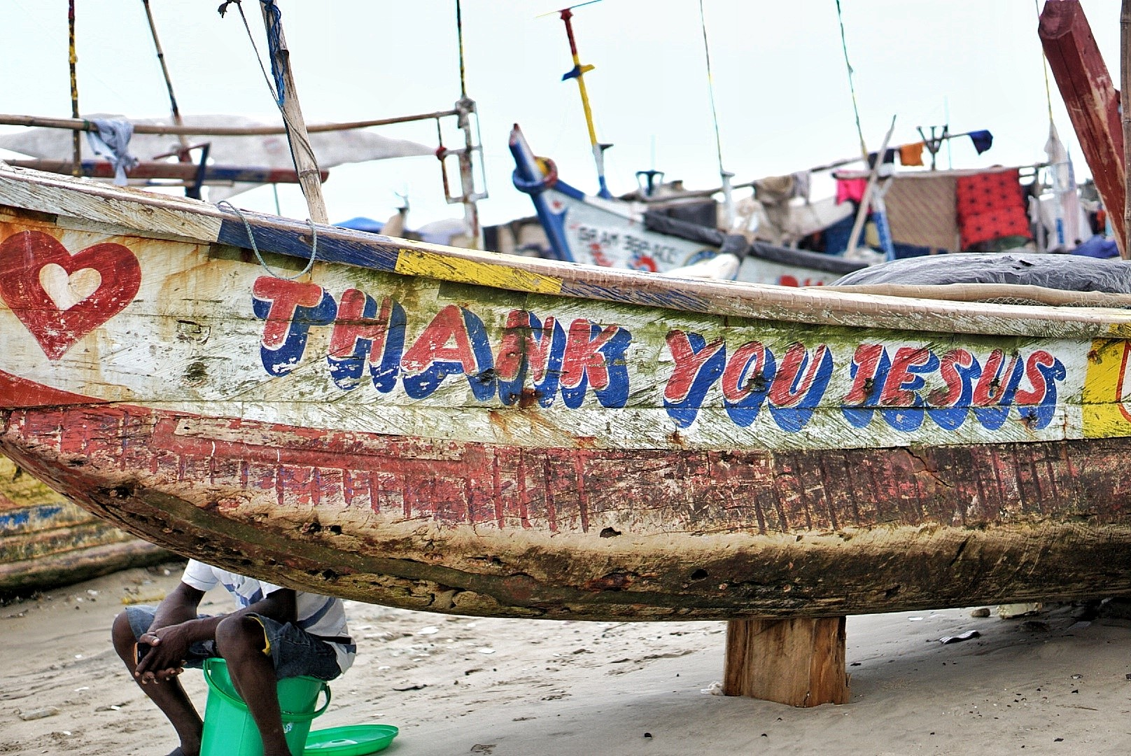Boat at a fishing village in jamestown Accra