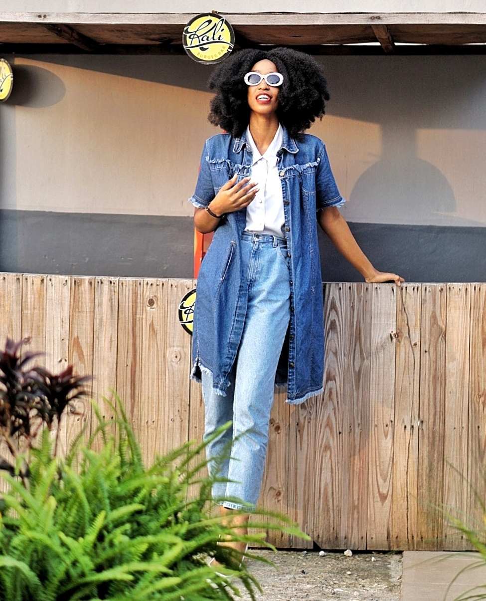 Nigerian Fashion Blogger Cie Daves Wearing Denim Dress White Shirt And Mom Jeans