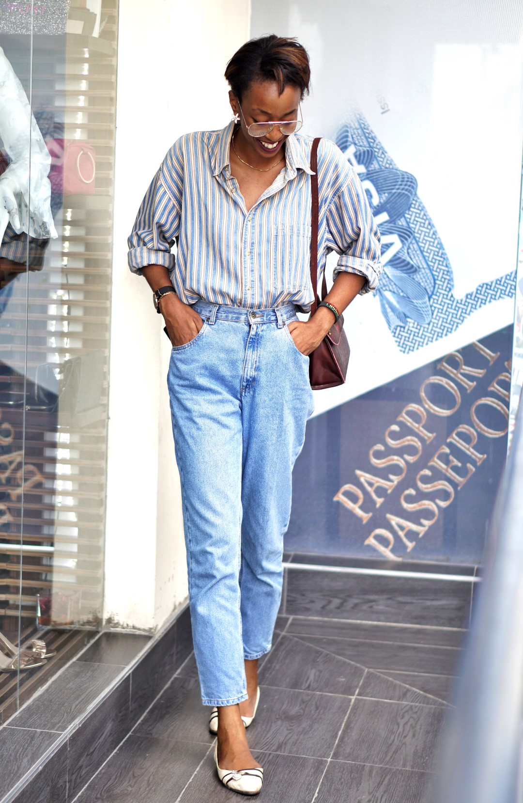 Nigerian fashion blogger cassie daves wearing double denim style for fashion week
