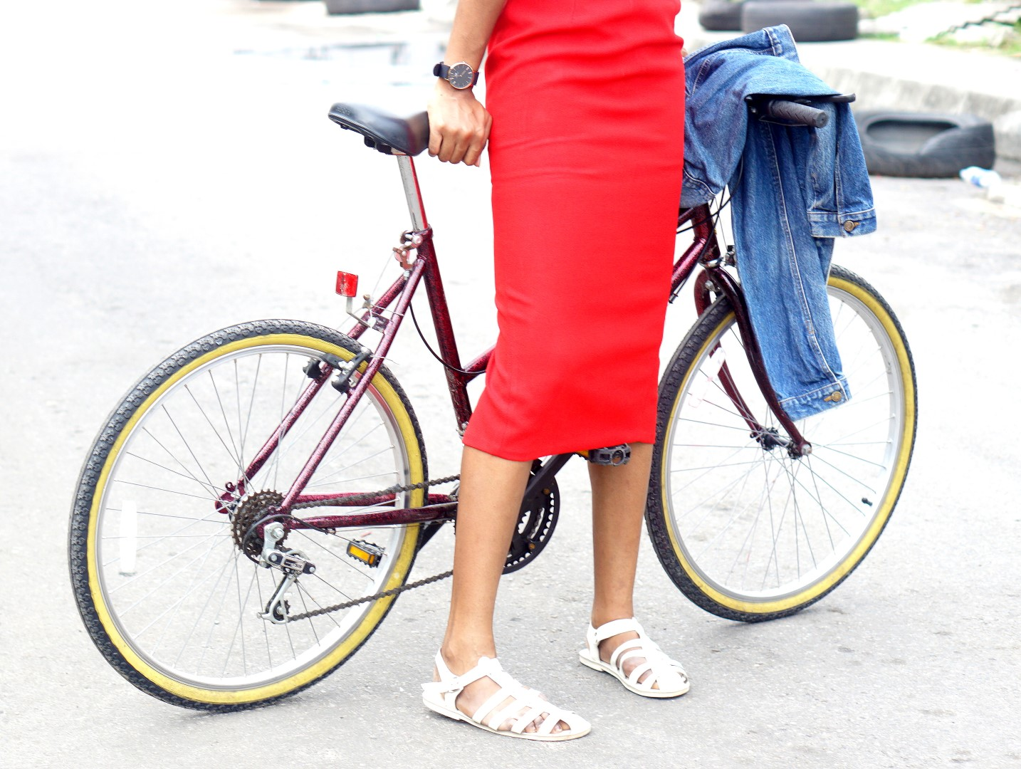 Red midi pencil skirt and white jellies