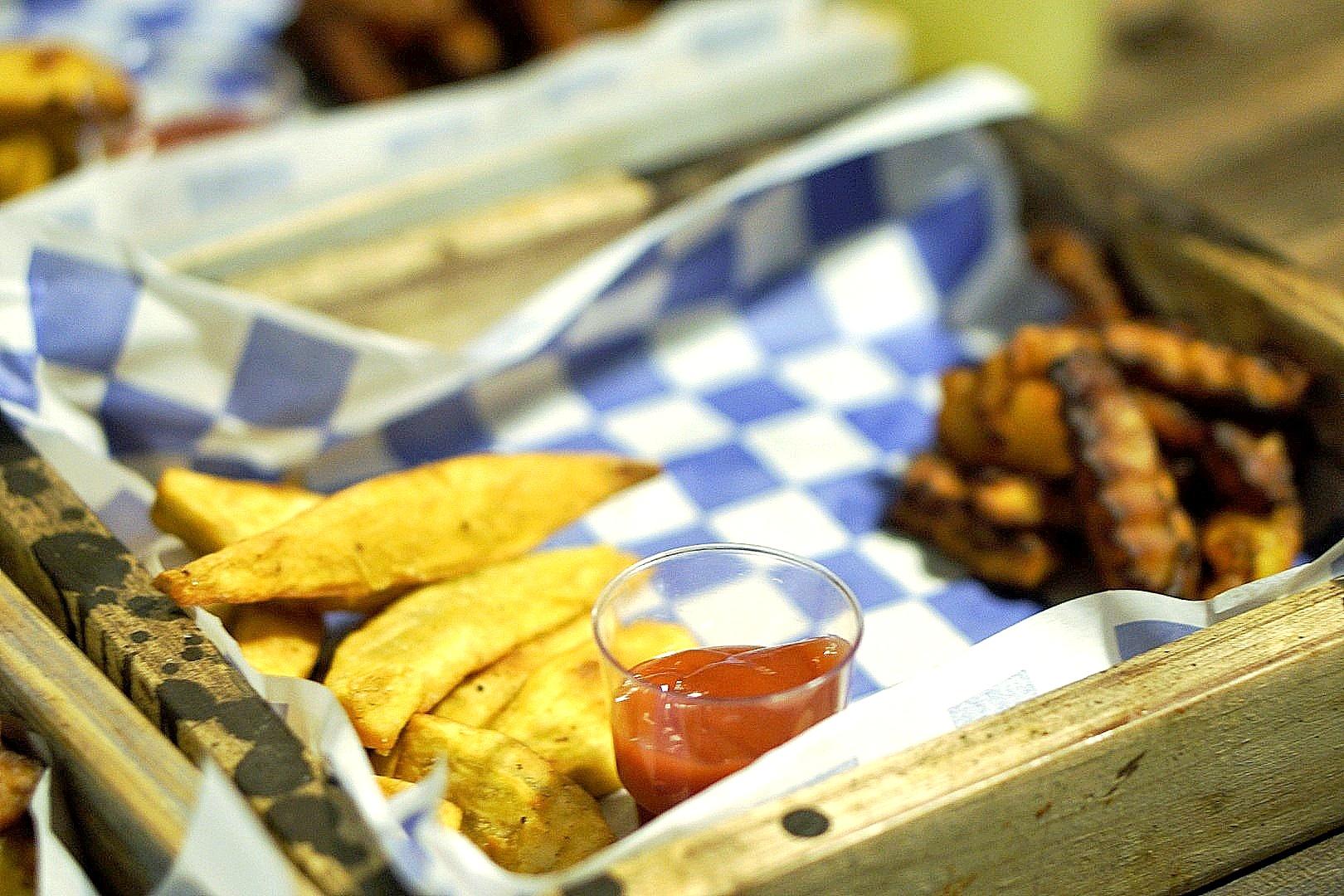fries and plantain at food shack Lagos