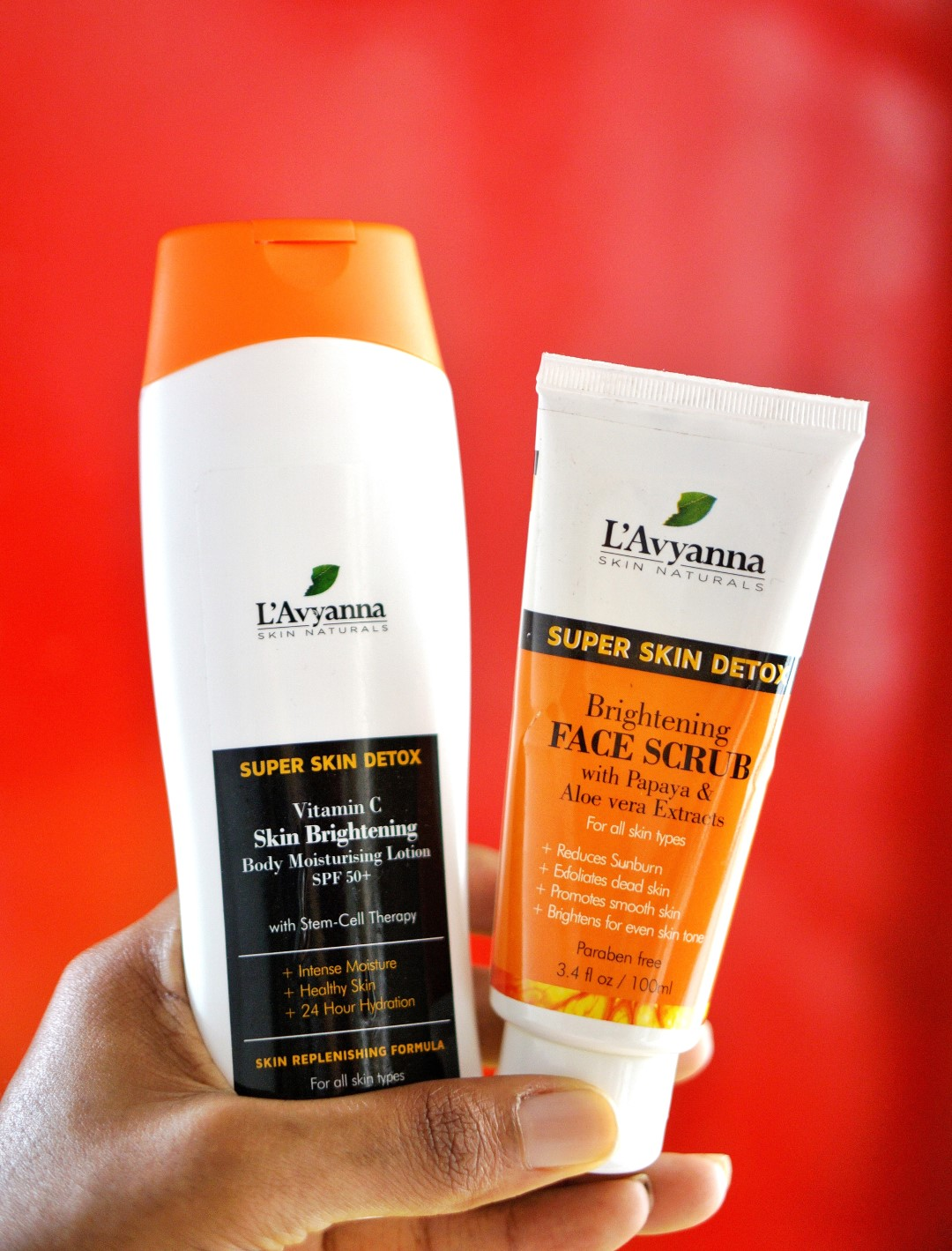 L'avyanna naturals products - super skin detox vitamin C lotion and face scrub