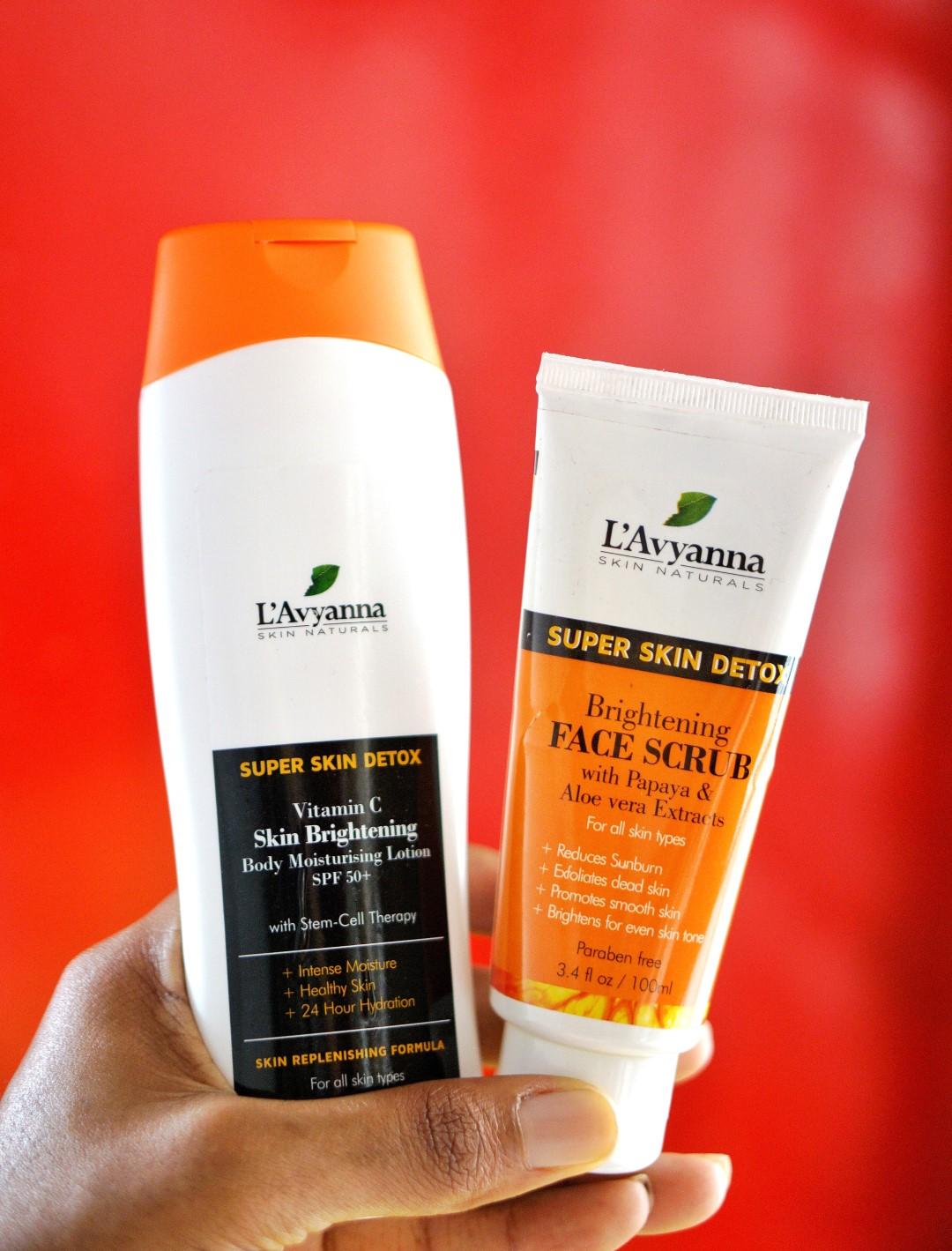 L'avyanna naturals products - super skin detox vitamin C lotion and face scrub