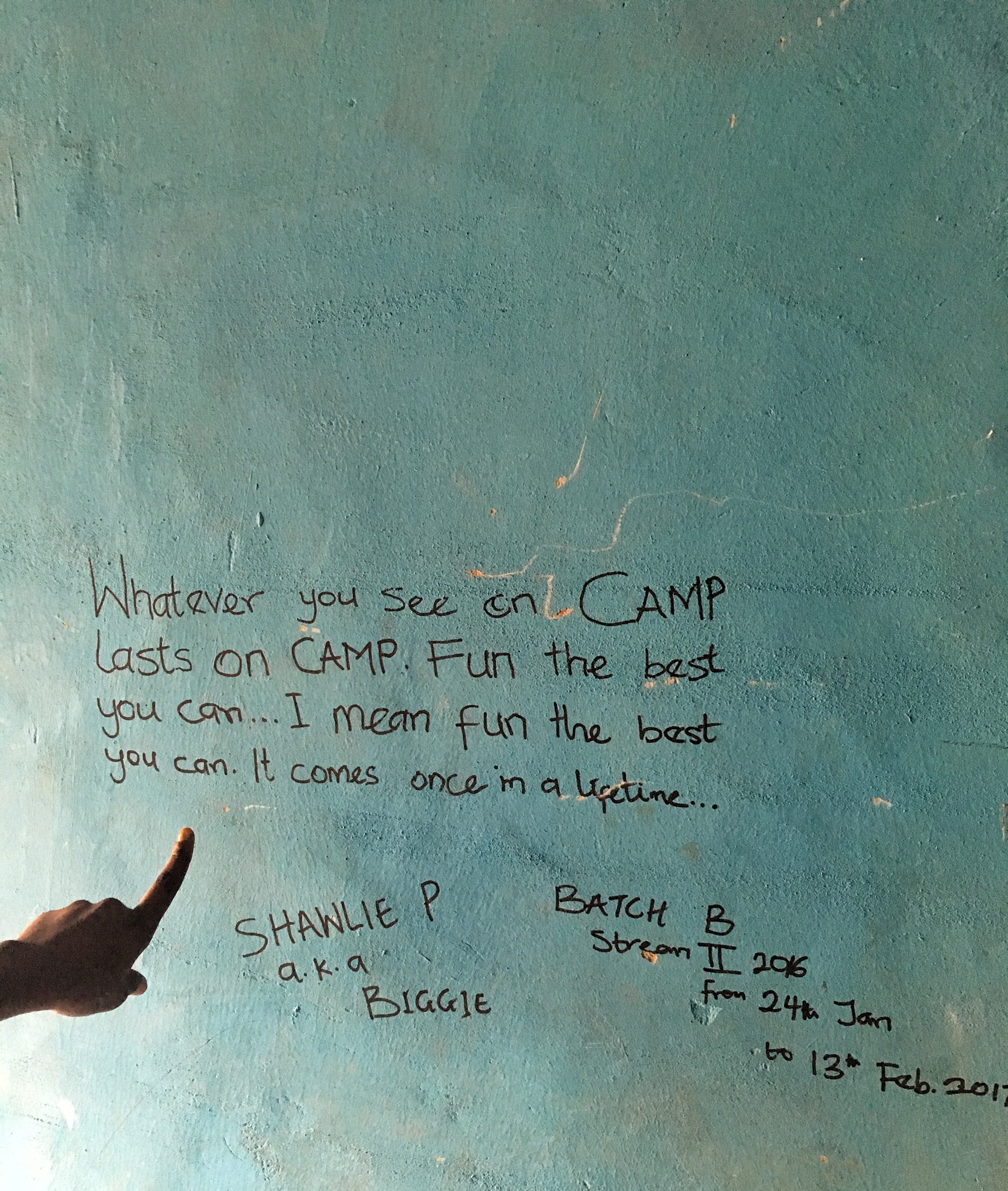 my nysc camp experience in kogi state - hand written note on the wall