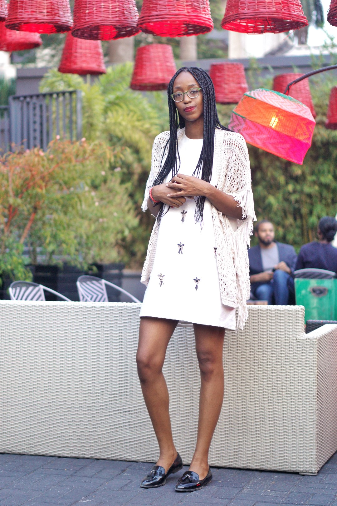 Nigerian Blogger Cassie Daves in topshop shift dress and net kimono