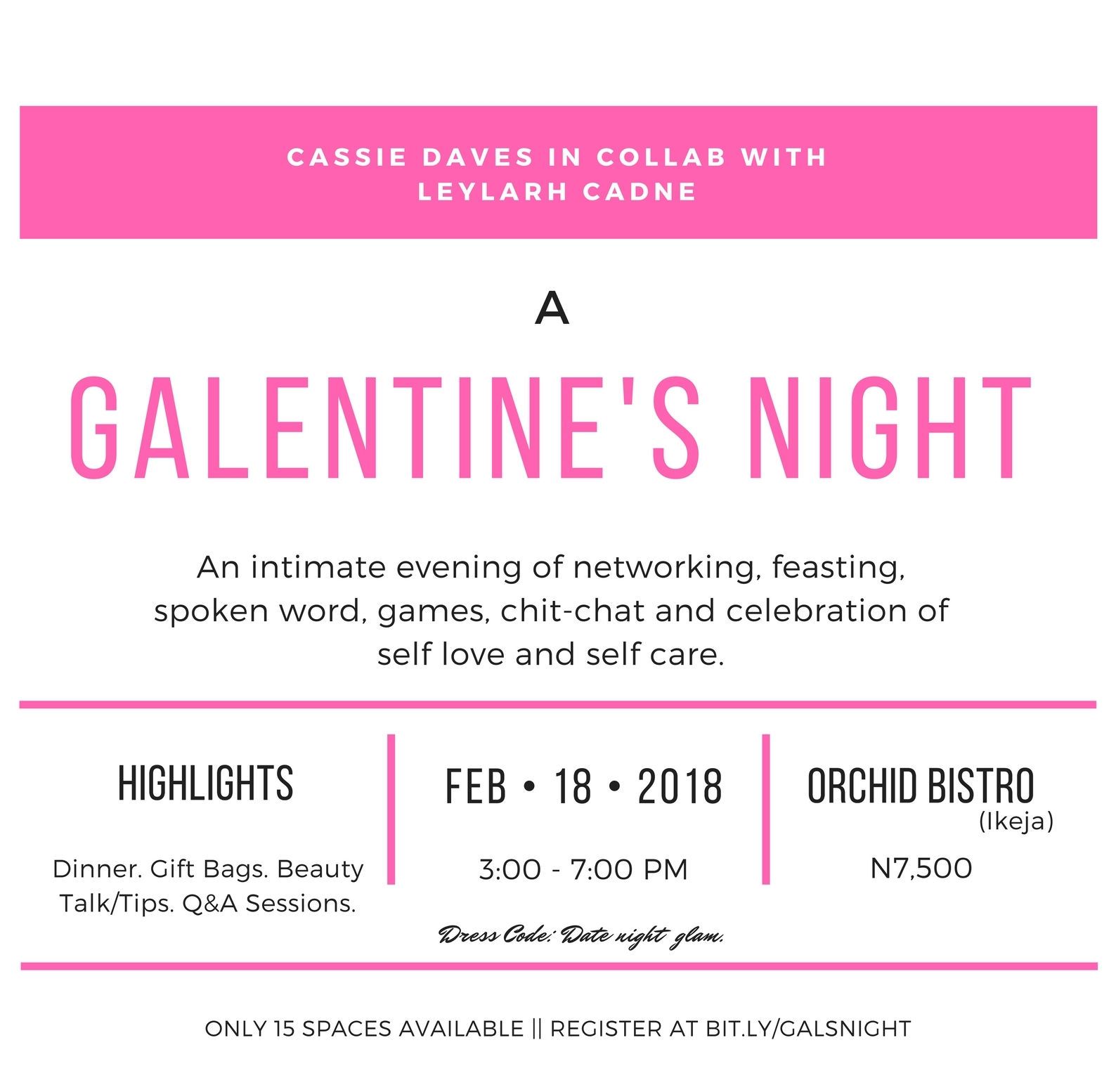 Galentine's day with cassiedaves and Leylarh Cadne flyer image