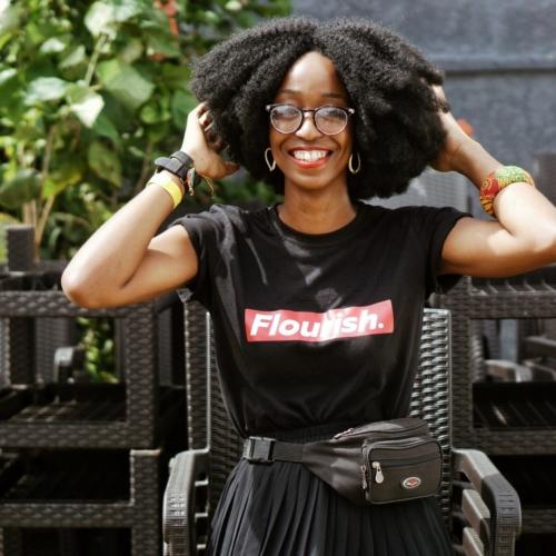 Cassandra Ikegbune wearing the black flourish cassie daves tee