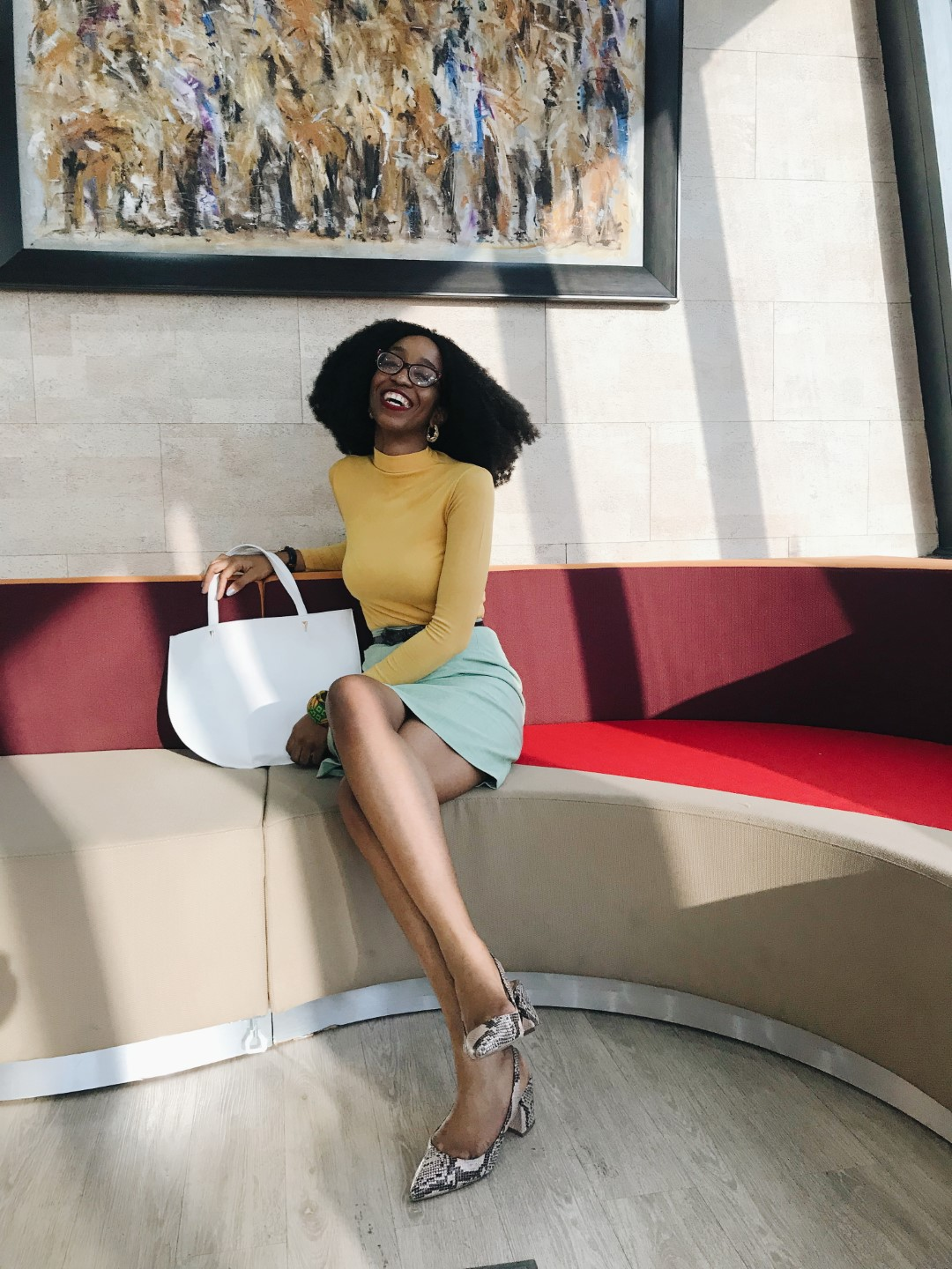 workwear essentials - Cassie Daves Nigerian blogger in turtle neck and skirt outfit