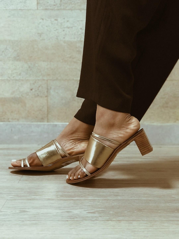 topshop gold block heels slippers